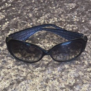 🕶 COACH SUNGLASSES BLACK CRYSTALS LARGE SILVER